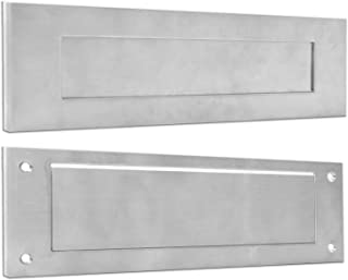 PUGUO 实心 304 不锈钢门邮件槽,前后部件,维多利亚时代的字母盒板,适用于任何前门,33.02 x 8.94 厘米,银色