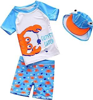 BAOPTEIL 婴儿幼儿男孩两件套泳衣套装蓝色鲨鱼泳衣*衣带帽子*服泳衣 UPF 50+ FBA