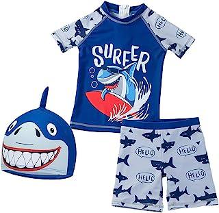 男婴 2 件套泳装套装,恐龙鲨鱼泳衣*服,带帽子 UPF 50+