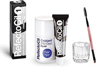 RefectoCil Color Kit 纯黑色,包括 REFECTOCIL 1 种*剂 0.5 盎司(15 毫升)液体显影剂 3% 混合碗和自然睫毛膏刷,适用于专业毛发、胡须和胡子