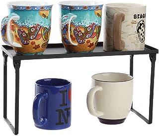 Lily's Home 装饰金属存储架 - 2 层高架食品和厨房收纳架,适用于橱柜、食品柜架、台面、可堆叠和折叠 黑色(小号)