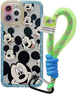 Max-ABC 兼容 iPhone 12 Pro Max 可爱卡通手机壳米妮米老鼠可爱超薄凝胶橡胶缓冲软TPU保护透明手机壳带挂绳(蓝色)