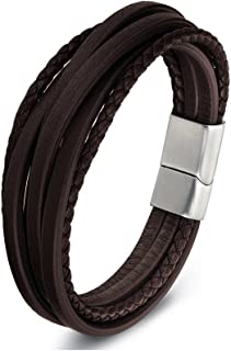 Zen Styles 黑色或棕色皮革手链,多根编织袖口不锈钢磁扣,优质,适合手腕尺寸 19.05-22.86 cm