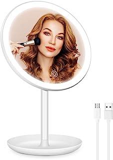 专业充电式照明化妆镜,3 种照明模式 LED 化妆镜,可调光化妆镜,带灯光,发光镜,带可拆卸存储托盘,便携式化妆镜,适合旅行