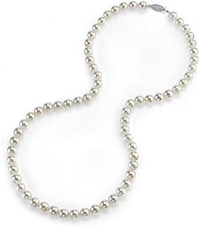 珍珠球 14K 金 5.0-5.5mm 圆形真品白色日本 Akoya 海水养殖珍珠项链 17 英寸公主长度