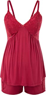 女式孕妇舒适两件套睡衣蕾丝罩杯 V 领吊带上衣 + 酒红色