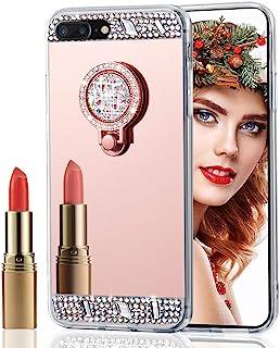 iPhone 8 手机壳,iPhone 7 手机壳,LEECOCO 闪亮水晶钻石闪光镜壳软橡胶 TPU 支架保护套外壳 iPhone 7 / iPhone 8 Ring Mirror Rose Gold