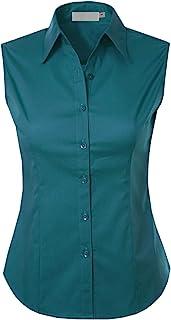 MAYSIX APPAREL 女式无袖弹性系扣领办公正式休闲衬衫(XS-1XL)