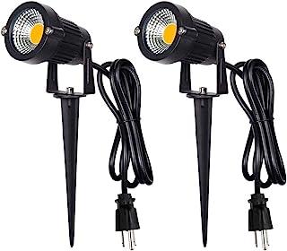 户外风景 LED 照明 5W 防水梯灯 COB LED 聚光灯 带尖头支架 适用于草坪装饰灯 美国 3 个插头 3500K 暖白光(2 件装)