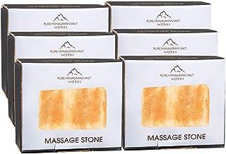 纯喜马拉雅盐工作矩形按摩石,粉色水晶手工雕刻石,用于按摩*,*剂,盐和糖磨砂,5.72 cm 宽 x 8.26 cm 高 x 2.54 cm 深