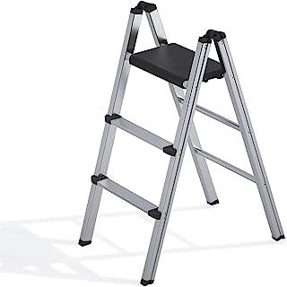 可折叠梯子,3 步铝制折叠梯子,便携式超薄踏板凳,*家用梯子