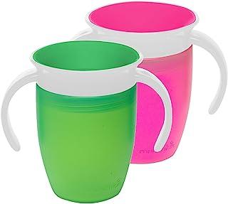Munchkin Miracle 360 训练杯,粉色/绿色,7 盎司,2 只装