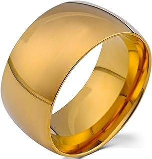 Fashion Month 男士 12 毫米经典金碳化钨戒指 婚礼订婚戒指 圆顶 高抛光 宽平滑戒指