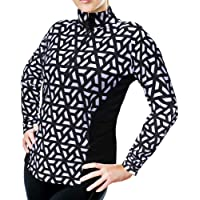 XrSzChic 女士高尔夫网球跑步套头衫运动四分之一拉链长袖印花