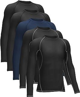 TELALEO 青年男孩压缩衬衫青少年长袖 T 恤运动排汗吸湿排汗上衣
