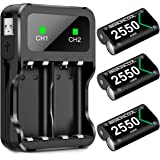 BEBONCOOL Xbox One 控制器电池组,Xbox One 可充电电池组,带充电站,3x2550 mAh 电池…