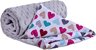 婴儿车毯 * 棉 75x100 厘米 双面多功能婴儿车毛毯 柔软蓬松 bunte Herzen mit grauem Minky 75x100cm