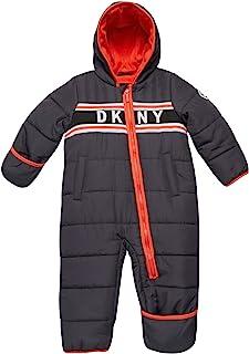 DKNY 男婴防雪服连帽全羊毛内衬连体衣推车,带可转换连指手套