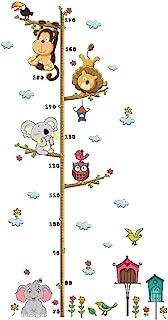 儿童儿童身高成长图墙贴树动物可移除墙贴 适用于家庭卧室装饰