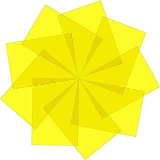 Pangda 9 片装凝胶滤镜彩色覆盖修正凝胶光滤镜透明彩色薄膜塑料片,29.97 x 21.6 cm 黄色