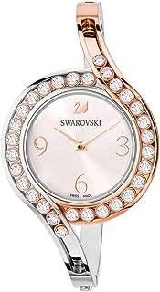 施华洛世奇水晶正品可爱水晶手镯手表,金属表带,白色,混合色调 - 女士优雅瑞士制造钟表 - 经典石镶嵌时尚首饰,适合花式和休闲活动