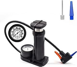 XonyiCos *自行车泵,160 PSI 迷你便携式自行车泵,迷你脚泵带压力计,双阀自行车气泵,适用于自行车、摩托车、游泳圈、篮球