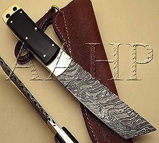 AAHP - 82,9.25 英寸(约 21.9 厘米)手工大马士革修皮刀,约 5.1 英寸(约 13.0 厘米)刀片由 * 真正大马士革钢制成,牛角高约 5 英寸(约 12.7 厘米)黄铜销
