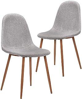 CangLong 2 件套,金属腿面料靠垫座椅靠背现代餐椅,灰色