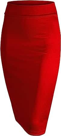 Made By Johnny 女式松紧腰弹力紧身中筒及膝铅笔裙 适用于办公室 - 美国制造, Wb700_红色, Medium