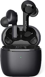 真无线耳塞,EarFun Air 蓝牙 5.0 耳塞触摸控制,带无线充电盒,内置 4 麦克风,USB-C快速充电,高保真深低音入耳式耳机,35H 播放时间,IPX7 防水TW200