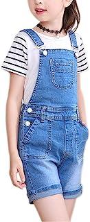 Sitmptol 女童 Little Big Kids Distressed BF 牛仔裤棉质吊带牛仔背带裤 1P, 浅蓝色, 7-8 Years