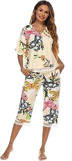 Homeyshoppe 女式 2 件套睡衣套装棉质睡衣花卉印花上衣和七分裤睡衣