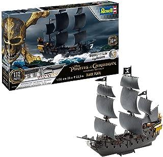 Revell威望 拼装模型 05499 船 1:150 - 黑珍珠海盗船黑色珍珠,比例 1:150,带轻松装系统,拼插系统,多色部件,无需涂色和粘接,多细节忠于原型复刻版,帆船,加勒比海的诅咒,加勒比海盗,帆船