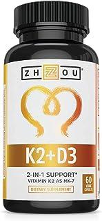 Zhou Nutrition 维生素K2(MK7)含D3补充剂-维生素D&K复合物-5000 IU维生素D3&90微克维生素K2 MK-7-60粒小且易吞咽蔬菜胶囊