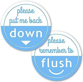 Crafted-Brand Put Me Down and Flush 马桶座贴纸包   使用这些重型乙烯基浴室提醒贴纸(2 个不同的贴纸,2.25 英寸)