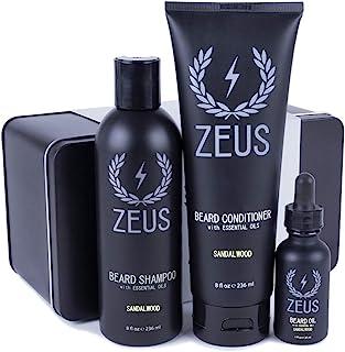 ZEUS Starter 胡须护理套装,胡须清洗和常规胡须油(檀香)
