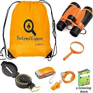 Kids Adventure - 户外探险套装,儿童玩具,儿童双筒望远镜,手电筒,指南针,放大玻璃,背包口哨 - 适合露营、远足、教育假冒游戏