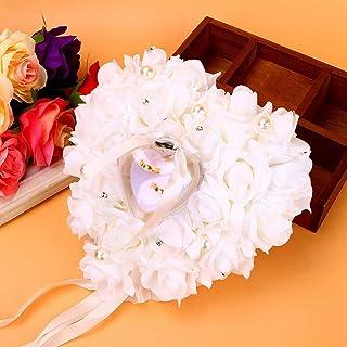 婚戒盒,Akozon 白色戒指枕头,蕾丝水晶玫瑰婚礼心形珍珠戒指盒戒指托