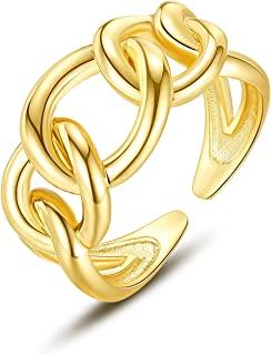 女式厚实金色开口戒指