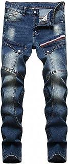 FASHINTY 男式休闲风格直筒牛仔裤