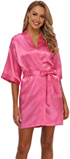 Vogue Bridal 女式短款和服睡袍纯色丝绸浴袍缎面睡衣,适合婚礼派对, 玫瑰红, XX-Large