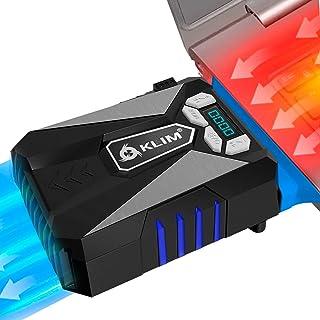 ⭐️KLIM™ 酷笔记本电脑冷却风扇 – 创新的便携式冷却设计带显示屏 – 外部游戏冷却器 – 高性能通风 – USB 冷却垫 – 静音空气真空 – 减少热量(蓝色)