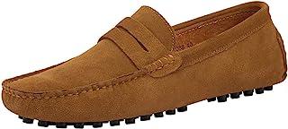JIONS 男式驾驶便士乐福鞋麂皮一脚蹬软帮平底鞋驾驶鞋 A- 卡其色 9.5 D(M) 美国/欧洲 43 码