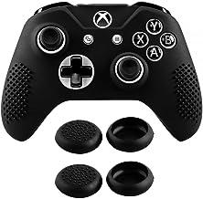 eXtremeRate 黑色柔软防滑保护套硅胶保护套,带拇指握把盖,适用于 Xbox One X 和 One S 控制器