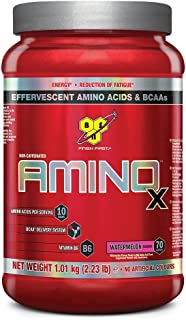 BSN Amino X Muscle Support Powder Supplement with Vitamin D, Vitamin A & Amino Acids. BCAA powder by BSN - Watermelon, 70 ...