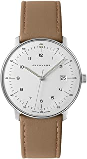 "Junghans 男式""Max Bill""石英不锈钢和皮革正装手表,颜色:米色(型号:041/4562.00)"