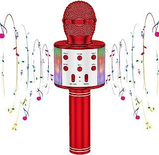 CYY 卡拉 OK 无线麦克风儿童玩具,便携式蓝牙手持麦克风扬声器带 LED 灯、生日派对、节日、户外活动礼品,适合男孩和女孩或成人(红色)