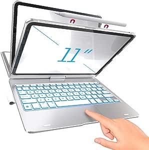 TYPECASE Touch - iPad Pro 11 保护套 2020 带键盘和触摸板 - 魔术键盘风格触控板和智能背光键,适用于 1st & 2nd Gen 11 英寸 iPad 2018-2020,兼容 Apple Pencil - 银色