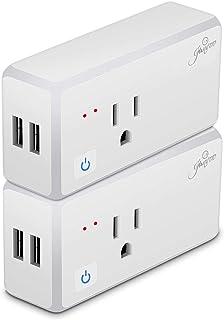 Jinvoo Wi-Fi 智能插头无线插座 15A 带 2 个 USB 端口,应用程序远程控制您的设备,定时开关,语音控制,设置定时器,智能插座兼容 Alexa 和 Google Assistant