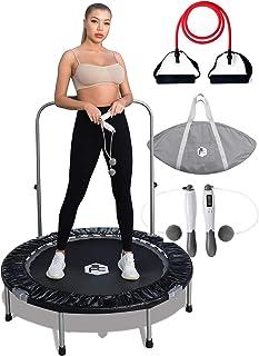 Shape Fit 核心室内蹦床(48 英寸,约 121.9 厘米)带便携袋 – 轻松可折叠和便携式高度可调节泡沫手柄,可承受 300 磅(约 149.7 公斤)负载,无线跳绳和阻力带 3 合 1 锻炼